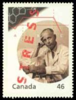 Portrait of Janosz / Hanse Selye on the Canadian postage stamp